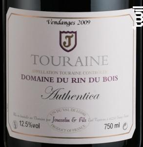 Authentica - Domaine du Rin du Bois - 2010 - Rouge