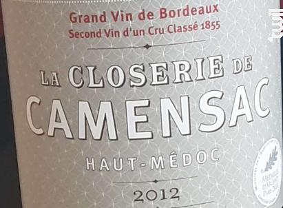 La Closerie de Camensac - Château de Camensac - 2012 - Rouge