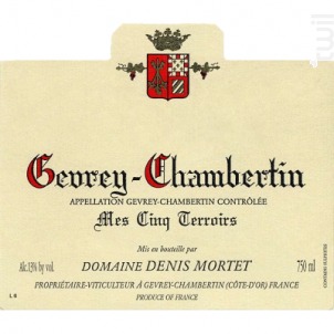 Gevrey Chambertin Mes Cinq Terroirs - Domaine Denis et Arnaud Mortet - 2016 - Rouge