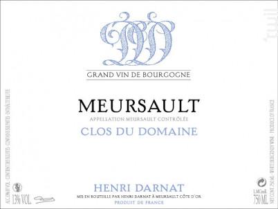 Meursault Clos du Domaine - Domaine Henri Darnat - 2017 - Blanc