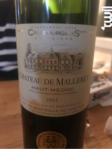 Château de Malleret - Château de Malleret - 2015 - Rouge