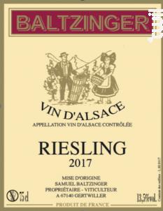 Riesling - VINS D'ALSACE SAMUEL BALTZINGER - 2017 - Blanc