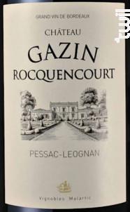Château Gazin Rocquencourt - Château Gazin Rocquencourt - 2012 - Rouge