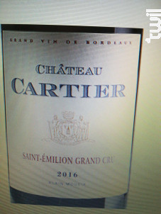 Château Cartier - vin Bio - Château Fonroque - 2016 - Rouge