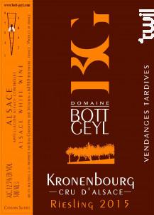 Riesling Cru d'Alsace Kronenbourg Vendanges Tardives - Domaine BOTT GEYL - 2015 - Blanc