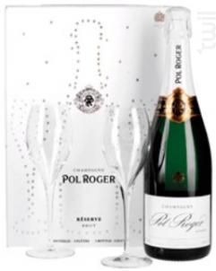 Pol Roger Brut Réserve Etui 2 Flûtes - Champagne Pol Roger - Non millésimé - Effervescent
