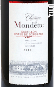 Château la Mondette - Château la Mondette - 2012 - Rouge