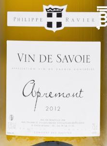 Apremont - Domaine RAVIER Sylvain et Philippe - 2019 - Blanc