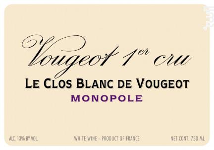 Vougeot Premier Cru Le Clos Blanc de Vougeot Monopole - Domaine de la Vougeraie - 2012 - Blanc