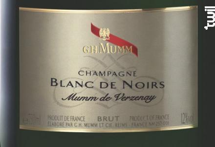 Mumm Blanc de Noirs - G.H. Mumm - Non millésimé - Effervescent