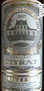 Château de Myrat - Château de Myrat - 2009 - Blanc