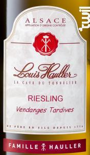Riesling Vendanges Tardives - Domaine Louis Hauller - 2015 - Blanc