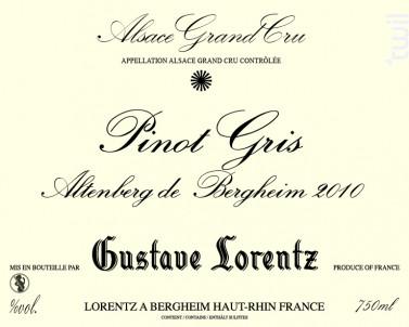 Pinot Gris Grand Cru Altenberg de Bergheim - Gustave Lorentz - 2011 - Blanc