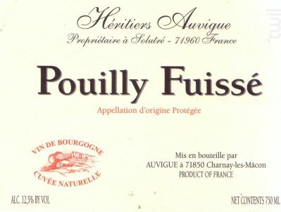 Pouilly-Fuissé - Cuvée Naturelle - Domaine Auvigue - 2017 - Blanc