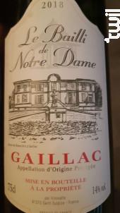 Le Bailli de Notre Dame Gaillac - Vinovalie Les Vignerons d'Ovalie - 2018 - Rouge