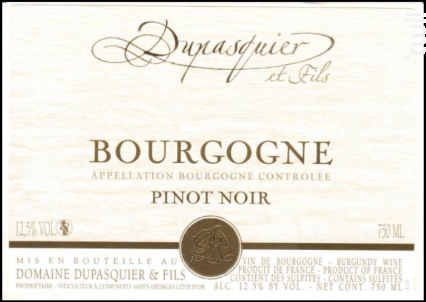 Bourgogne - Pinot Noir - Domaine Dupasquier et Fils - 2017 - Rouge