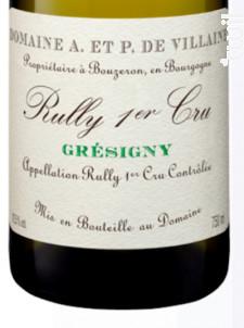 Rully Premier Cru Grésigny - Domaine de Villaine - 2016 - Blanc