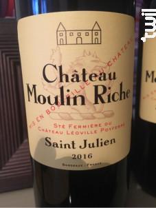 Château Moulin Riche - Château Léoville Poyferré - 2016 - Rouge