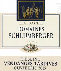 Riesling Vendange Tardive Cuvée Eric - Domaines Schlumberger - 2015 - Blanc