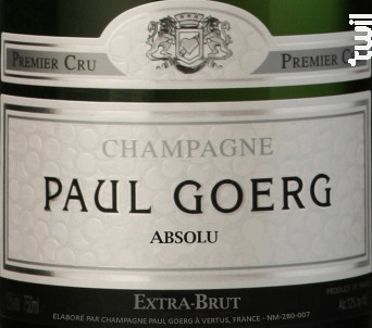 Absolu - Premier Cru Extra-Brut - Champagne Paul Goerg - Non millésimé - Effervescent