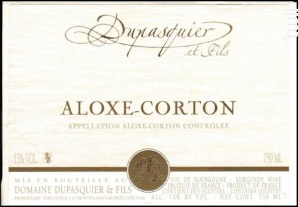 Aloxe Corton - Domaine Dupasquier et Fils - 2018 - Rouge