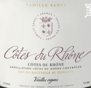 Côtes-du-Rhône Rouge - Famille Sadel - 2019 - Rouge