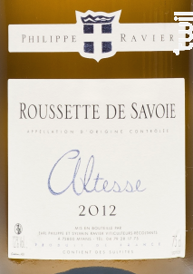 Altesse - Domaine RAVIER Philippe - 2017 - Blanc