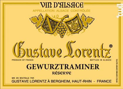 GEWURZTRAMINER Réserve - Gustave Lorentz - 2016 - Blanc