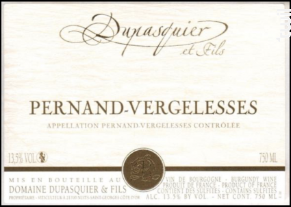 Pernand-Vergelesses Rouge - Domaine Dupasquier et Fils - 2019 - Rouge
