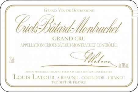 CRIOTS-BÂTARD-MONTRACHET - Maison Louis Latour - 2011 - Blanc