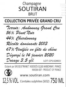 Cuvée Grand Cru Collection Privée - Champagne A. Soutiran - Non millésimé - Effervescent