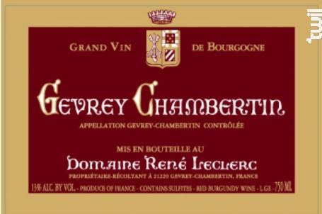GEVREY CHAMBERTIN - Domaine René LECLERC - 2014 - Rouge
