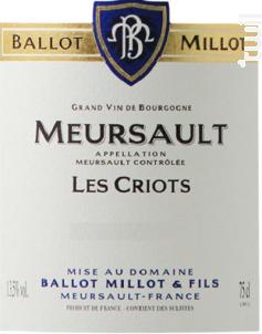 Meursault Les Criots - Domaine Ballot-Millot - 2017 - Blanc