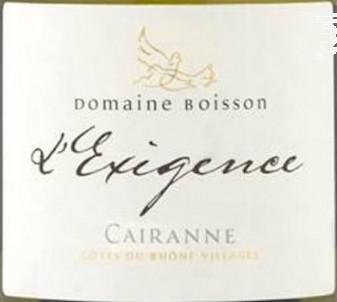 L'Exigence - Domaine Boisson - 2016 - Blanc