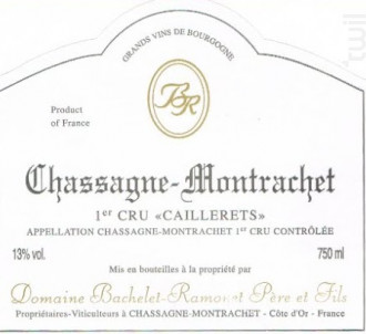 CHASSAGNE MONTRACHET 1er cru Caillerets - Domaine Bachelet-Ramonet - 2016 - Blanc