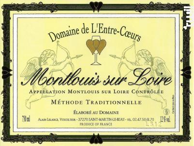 Montlouis Méthode Traditionnelle Demi-sec - Domaine de L'Entre-Coeurs - Alain Lelarge - Non millésimé - Effervescent