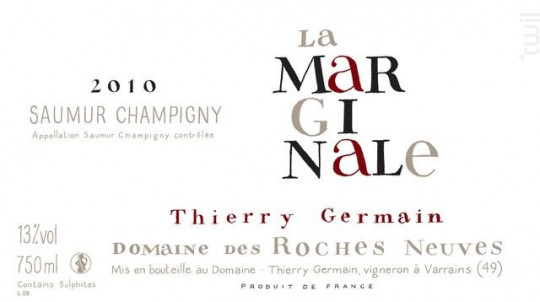 La marginale - THIERRY GERMAIN - DOMAINE DES ROCHES NEUVES - 2015 - Rouge