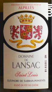 Saint Louis - Domaine de Lansac - 2015 - Blanc