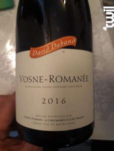 Vosne-Romanée - Domaine David Duband - 2016 - Rouge