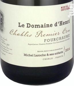 Chablis Premier Cru Fourchaume - Le Domaine d'Henri - 2012 - Blanc