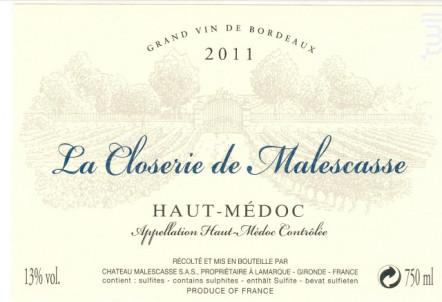 La Closerie de Malescasse - Château Malescasse - 2011 - Rouge