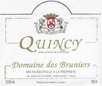 Quincy - Domaine des Bruniers - Jérôme de la Chaise - 2017 - Blanc
