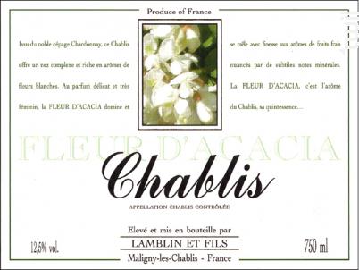 Chablis Fleur d'Acacia - Michel Lamblin et Fils - 2016 - Blanc