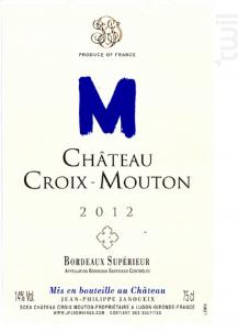 Château CROIX MOUTON - Château Croix-Mouton - 2012 - Rouge