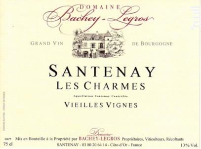 Santenay Les Charmes Vieilles Vignes - Domaine Bachey-Legros - 2016 - Rouge