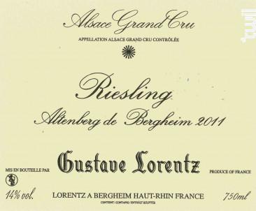 RIESLING GRAND CRU ALTENBERG VIEILLES VIGNES - Gustave Lorentz - 2015 - Blanc