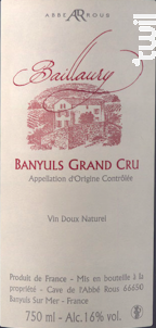 Baillaury Grand Cru - Cave Abbé Rous - 2008 - Rouge
