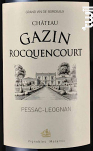 Château Gazin Rocquencourt - Château Gazin Rocquencourt - 2011 - Rouge