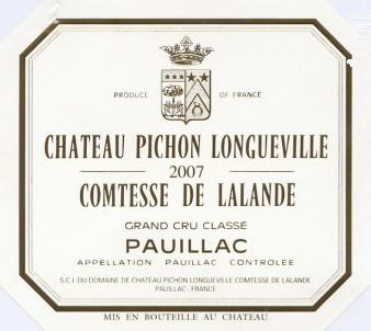 Château Pichon Longueville Comtesse de Lalande - Château Pichon Longueville Comtesse de Lalande - 2007 - Rouge