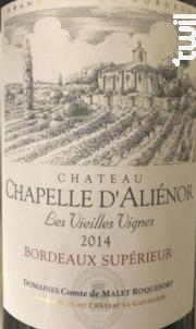 Château Chapelle d'Aliénor Les Vieilles Vignes - Château Chapelle D'Aliénor - 2014 - Rouge